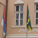 Flags in front of municipal building in Knjaževac