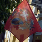 Flags in front of municipal building in Topola