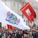 Flag of Zemun during procession on Epiphany day